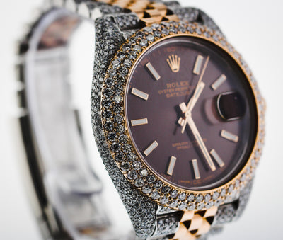 41mm Pre-Owned Rolex Diamond Datejust 13.75TCW Two-Tone 18R & SS Chocolate Dial Jubilee Band