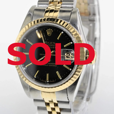 26mm Pre-Owned Rolex Datejust SS/18Y Black Dial Fluted Bezel Jubilee Band