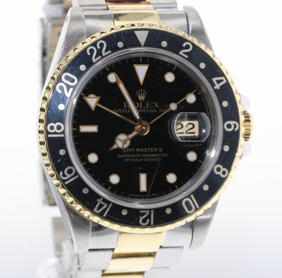 40mm Pre-Owned Rolex GMT Master II 18Y/SS Black Dial Black Bezel Oyster Band