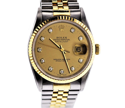 36mm Pre-Owned Rolex Datejust SS/18Y CHAMPAGNE DIAMOND DIAL JUBILEE BAND