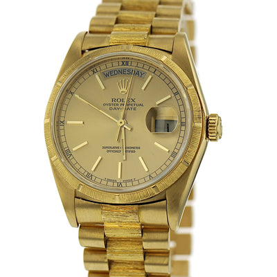 "36mm Pre-Owned Rolex President 18Y ""Vintage Bark"" Day/Date Oyster Band"
