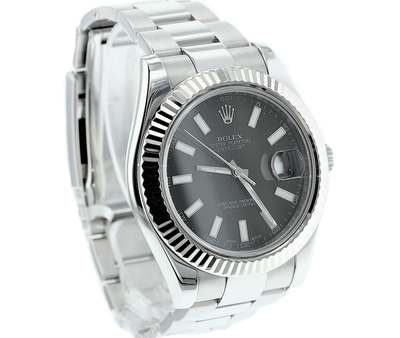 41mm Pre-Owned Rolex Datejust SS with 18W Fluted Bezel Black Dial Oyster Band