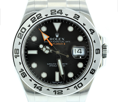 42mm Pre-Owned Rolex Explorer II SS Black Dial Oyster Band