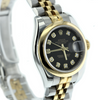 26mm Pre-Owned Rolex Datejust 18Y/SS Black Diamond Dial Smooth Bezel Jubilee Band