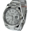 41mm Pre-Owned Rolex Datejust SS with 18W Fluted Bezel Silver Dial Oyster Band