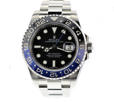 "40mm Pre-Owned Rolex GMT Master II ""BATMAN"" Black Dial & Blue/Black Bezel Oyster Band"