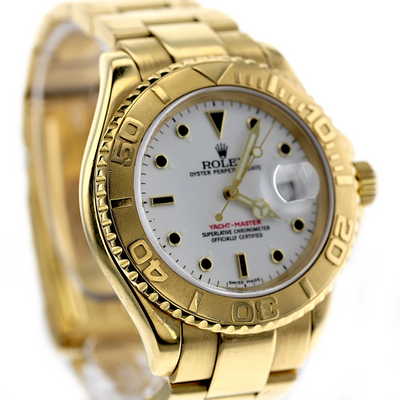 40mm Pre-Owned Rolex Yachtmaster 18Y White Dial Oyster Band
