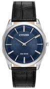 Men's Citizen Eco-Drive Stiletto 38mm Silver-Tone SS Navy Blue Dial Black Leather Strap