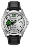 Citizen Men's Marvel The Hulk Eco-Drive Watch Silver Green Black Leather