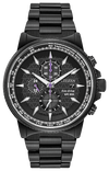 Citizen Men's Marvel Black Panther Eco-Drive Watch Black Violet Stainless Steel
