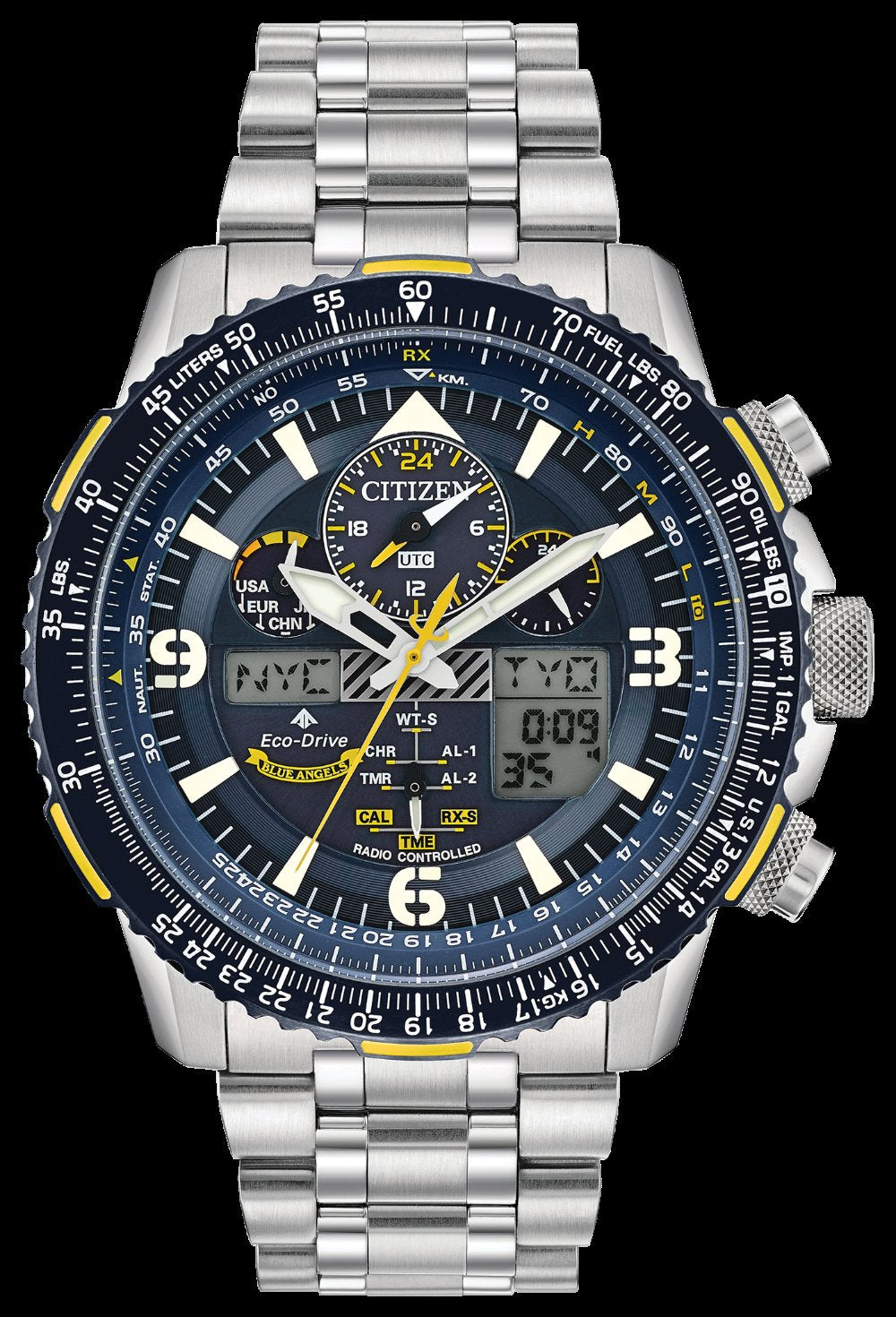 Men's Citizen Eco Drive Promaster Skyhawk A T 46mm SS Dark Blue Yellow Accents