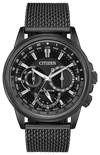 Men's Citizen Eco-Drive Calendrier 44mm Black Iron-Plated Stainless Steel Mesh Band