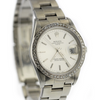 34mm  Pre-Owned Rolex Date SS Silver Dial Engine-Turned Bezel Oyster Band
