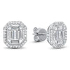 14K White Gold Diamond Earrings 3/4 ct