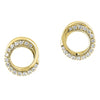 Yellow Gold Diamond Double Circle Earrings 1/6ctw
