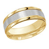 MALO WEDDING BAND 10KT YELLOW AND WHITE GOLD 8MM DESIGN BAND