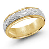 MALO WEDDING BAND 10KT WHITE & YELLOW GOLD 7MM ROLLED WOVEN PATTERN BAND