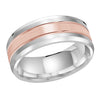 MALO WEDDING BAND 10KT ROSE AND WHITE GOLD 8MM DESIGN BAND