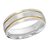 MALO WEDDING BAND 10KT WHITE & YELLOW GOLD 7MM GROOVE BAND