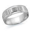 MALO WEDDING BAND 10KT WHITE GOLD 7MM RECTANGULAR MOTIF BAND