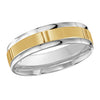 MALO WEDDING BAND 10KT YELLOW & WHITE GOLD 6MM VERTICAL GROOVE DESIGN BAND