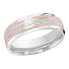 MALO WEDDING BAND 10KT ROSE & WHITE GOLD 7MM GROOVE DESIGN BAND