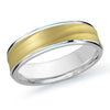 MALO WEDDING BAND 10KT YELLOW & WHITE GOLD 6MM SANDBLAST DESIGN BAND
