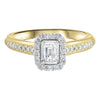 14KY Emerald Cut Diamond Engagement Ring