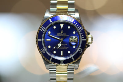 40mm Pre-Owned Rolex Submariner Two-Tone SS/18Y Blue Dial Oyster Band