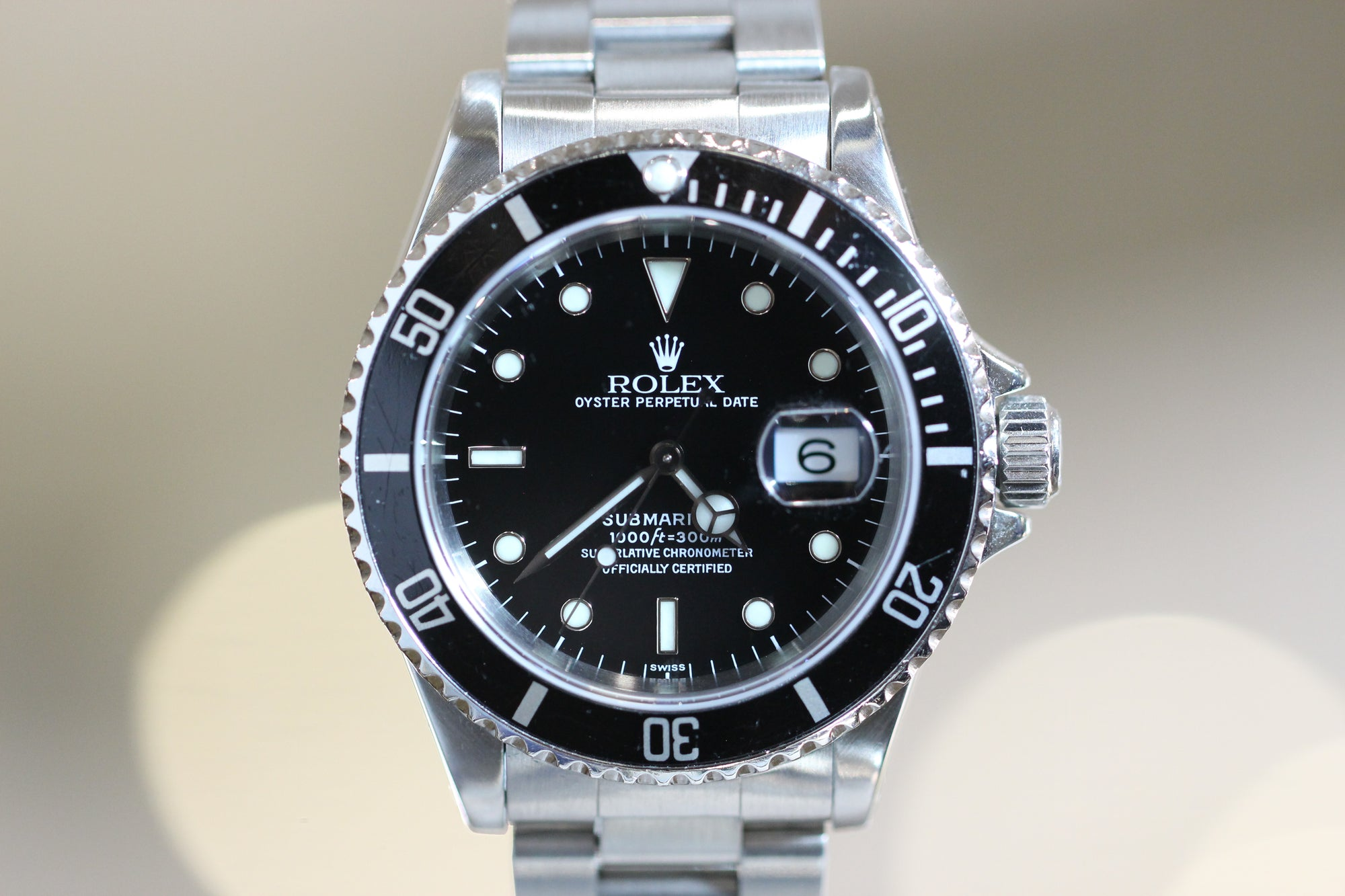 40mm Pre,Owned Rolex Submariner SS Black Dial Black Bezel Oyster Band