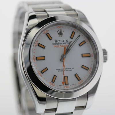 40mm Pre-Owned Rolex Milgauss White Dial Oyster Band