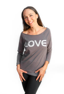 LOVE Ladies French Terry 3/4 Length Sweatshirt