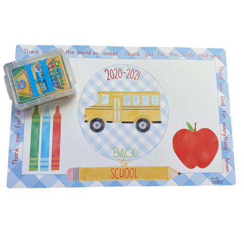 Personalized Placemat and Crayon Box Bundle