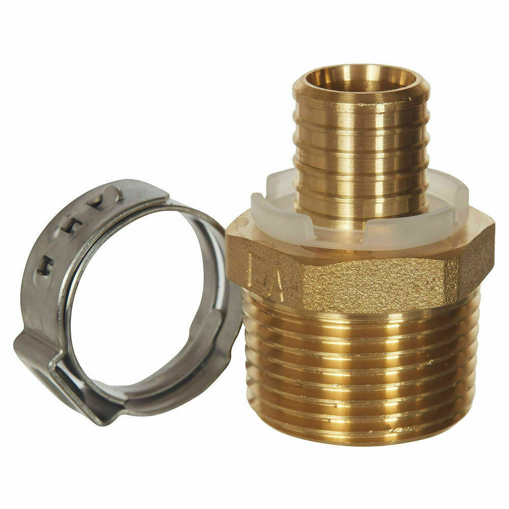 "Sharkbite Brass Crimp 20mm PEX x 1/2"" Male Connector #B120A"