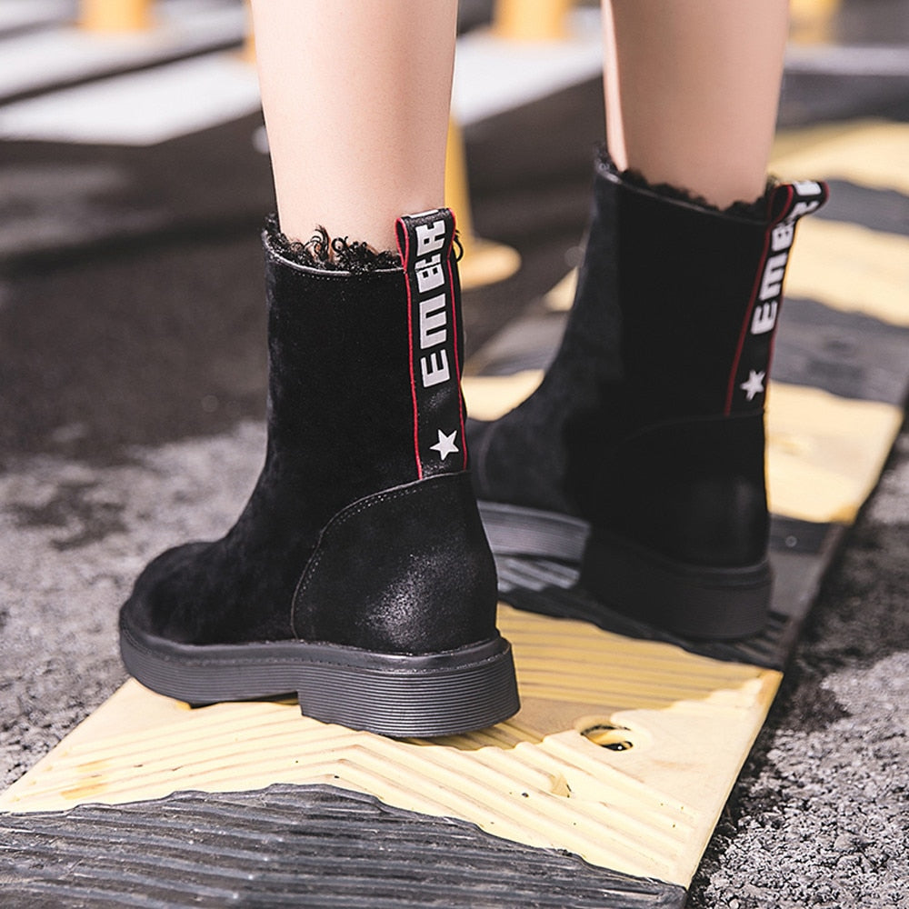 Women Boots Shoes Winter Fashion Keep Warm Snow Boots Mid calf Shoes Zip Flat Cotton Botines Mujer