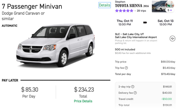 minivan prices enterprise vs turo