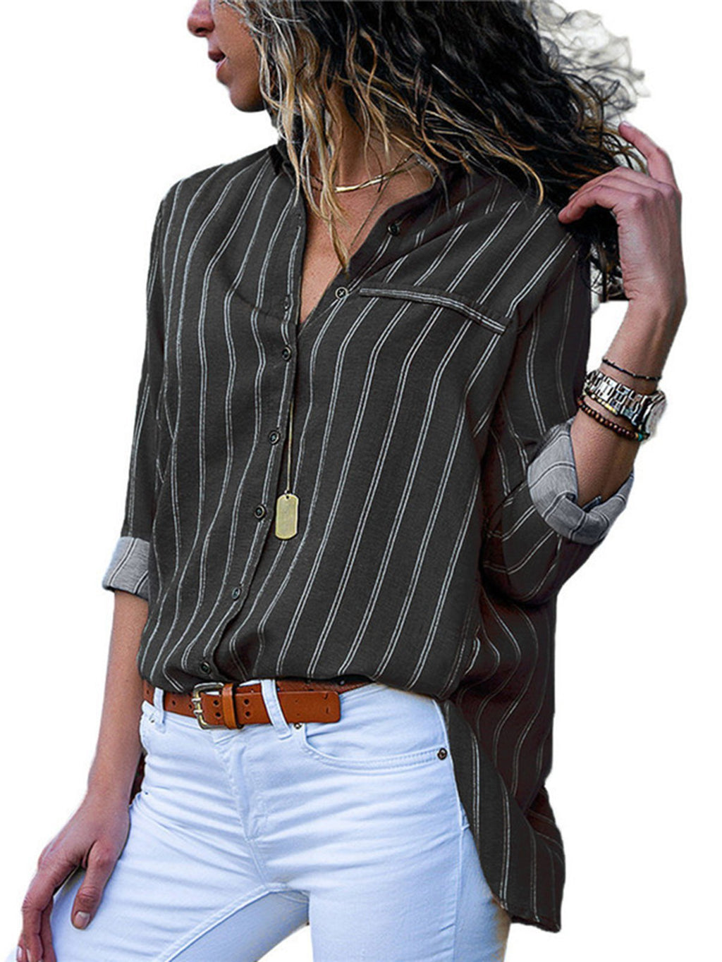 4da53d32a4513 Women Casual Long Sleeve Collar Shirt Striped Plus Size Shirt