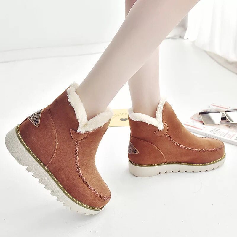 b5f82283eed Big Size Pure Color Warm Fur Lining Winter Ankle Snow Boots For Women