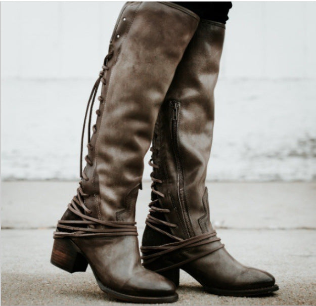 7a4224b783a Women Vintage Boots European Style Bandage Above Knee Boots
