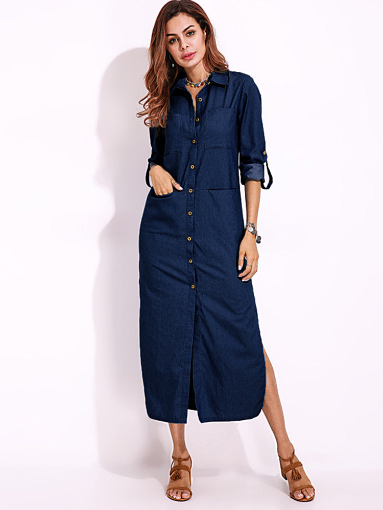 4263a151f25f9 Vintage Women Long Sleeve Buttons Side Split Denim Maxi Shirt Dresses