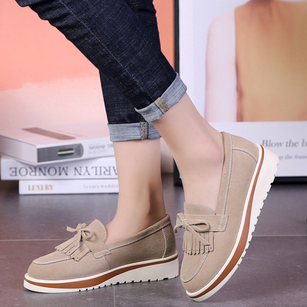 cfd2b06e1f0 Women Casual Lightweight Suede Leather Butterfly Knot Tassel Loafers ...