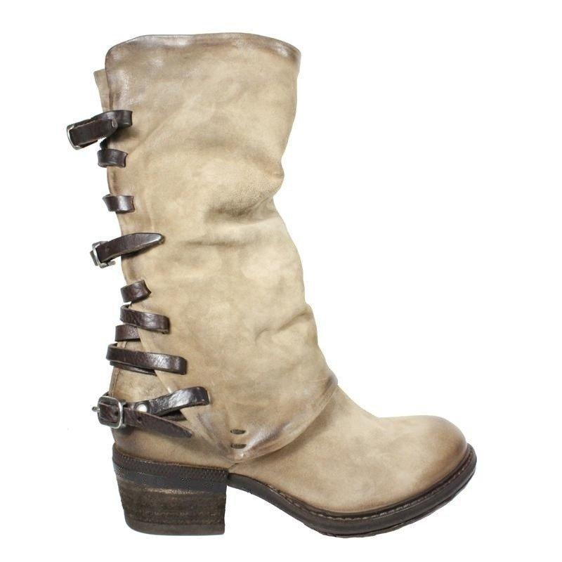 1b07fcaf7ef Women Vintage Zipper Low Heel Boots Back Straps Faux Leather Mid-calf Boots