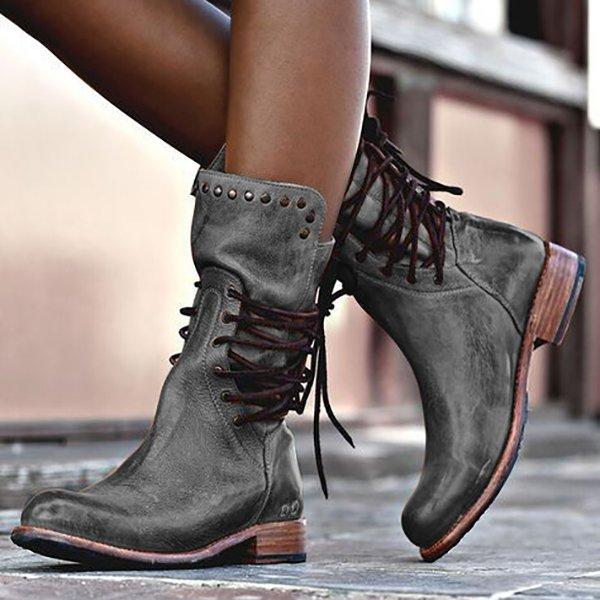 d7f46b522de Women Vintage Boot Zipper Lace-Up Holiday Mid-calf Boots