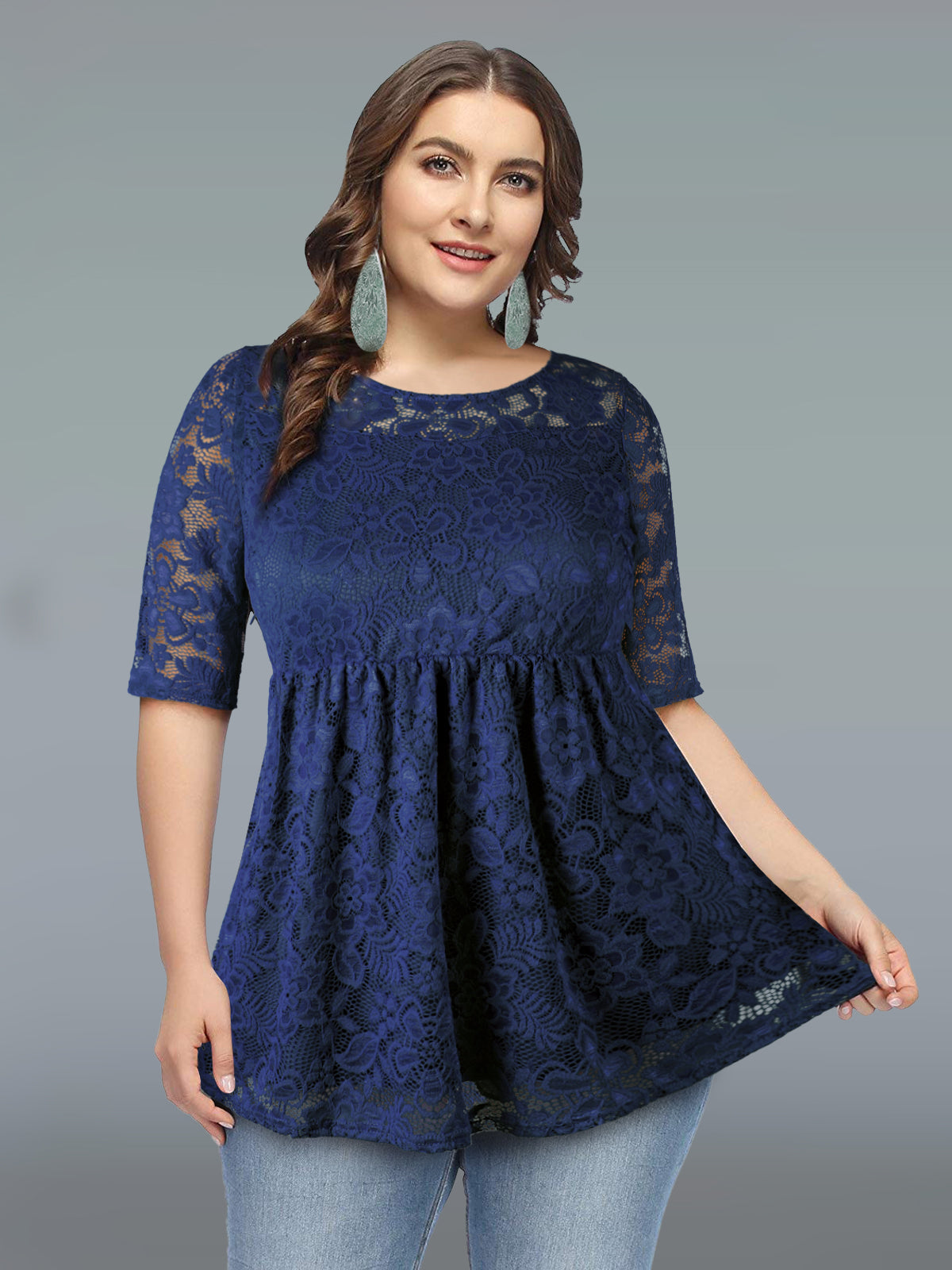 2dbce8a4b7586 Women s Plus Size Floral Lace Tops Casual Shirt. Size Charts