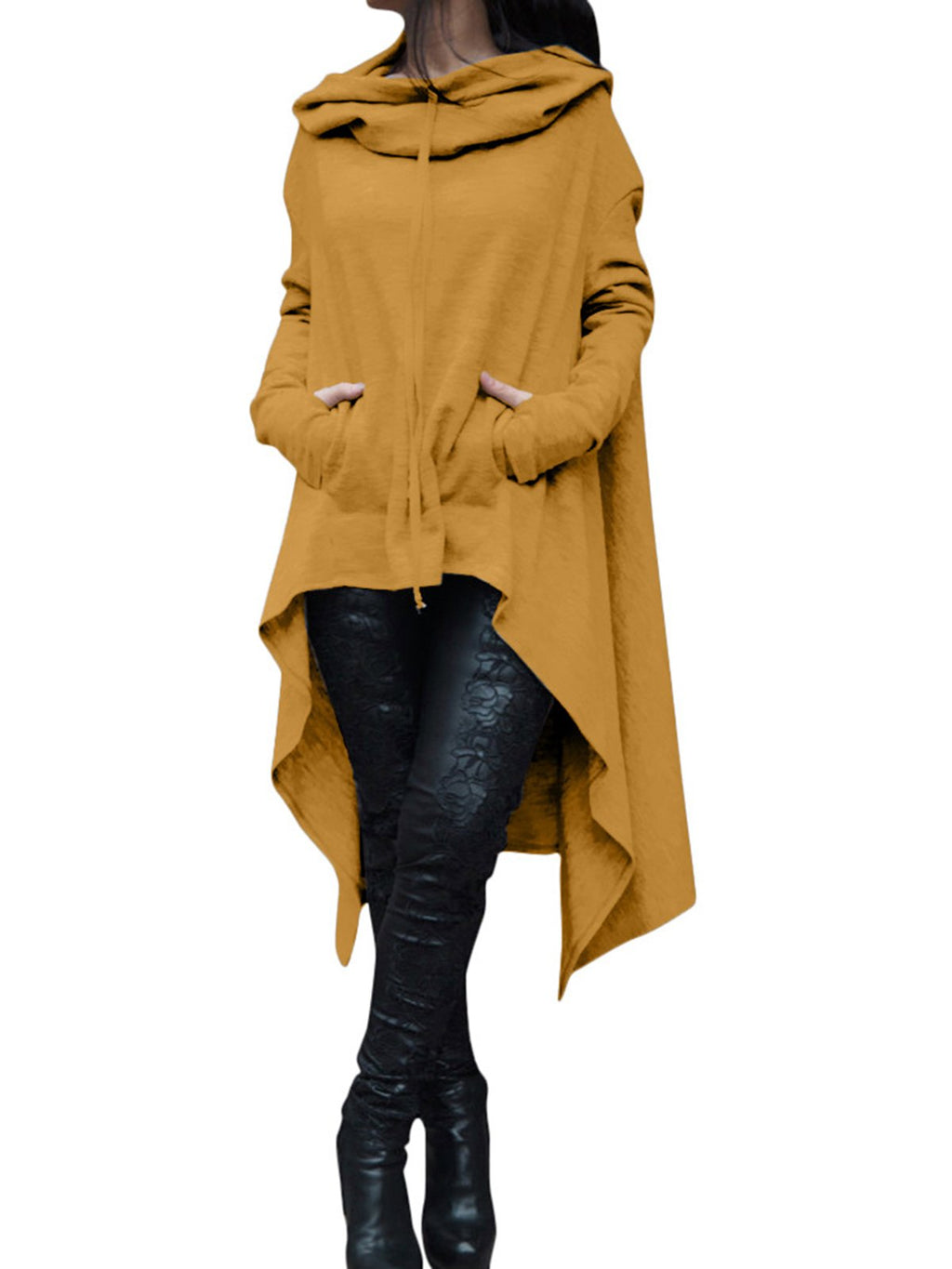 33232695289 Solid Asymmetric Casual Long Sleeve Plus Size Hoodie