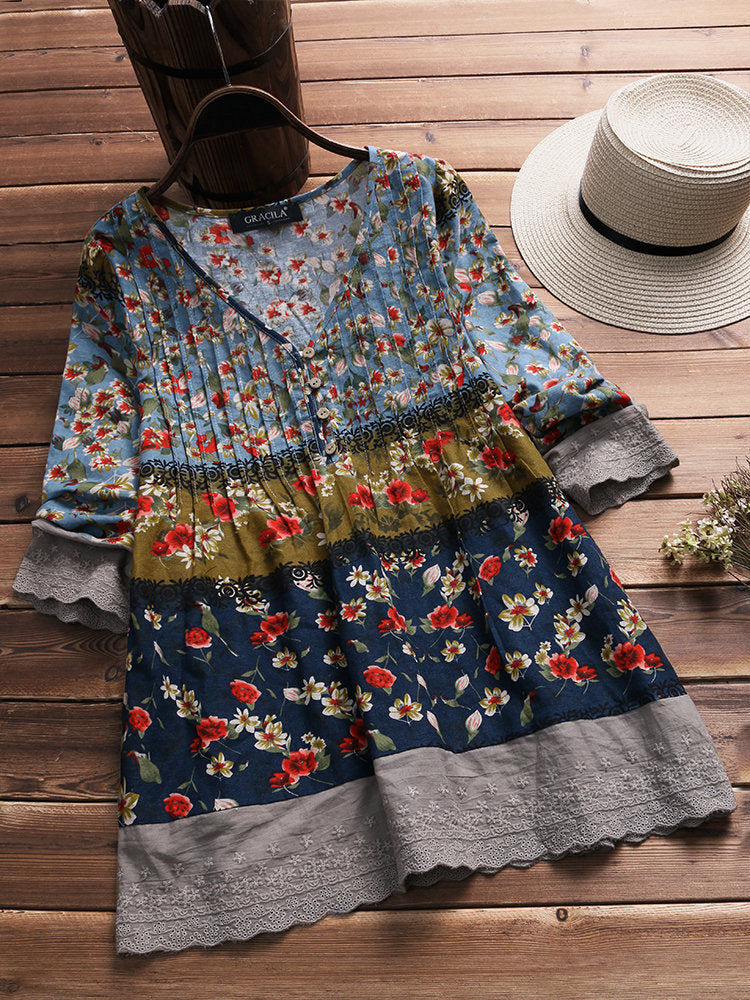 bd07dd0a5390e Vintage Floral Print Patchwork 3 4 Sleeve V-neck Blouses For Women ...