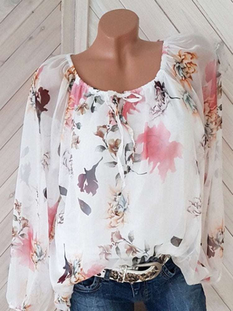 07e9319ed7184 Women Floral Printed Off Shoulder 3 4 Sleeve Chiffon Shirts – yourincoo