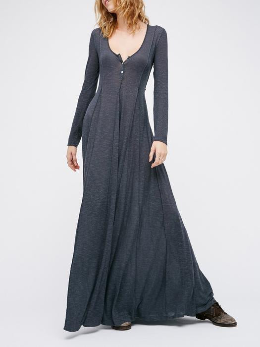 29646c31771 V neck Women Casual Dress Long Sleeve Cotton Maxi Dress – yourincoo