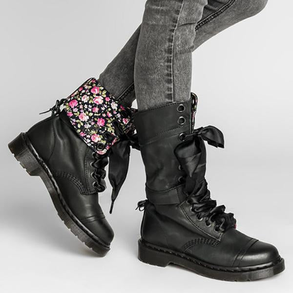 79ed0051e8fcc Women Vintage Lace-up Leather Mid-Calf Chunky Heel Boots