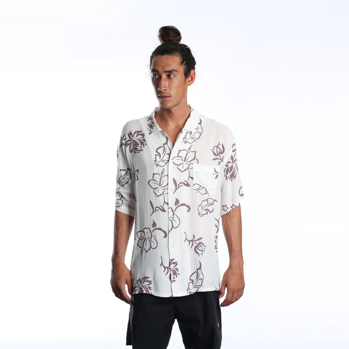 100% Aloha Hawaiian Shirt - Natural